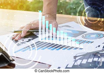 business, fonctionnement, concept., moderne, main, informatique, homme affaires, nouveau