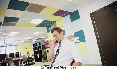 business, fonctionnement, conversation, mobile, ordinateur portable, téléphone, informatique, homme