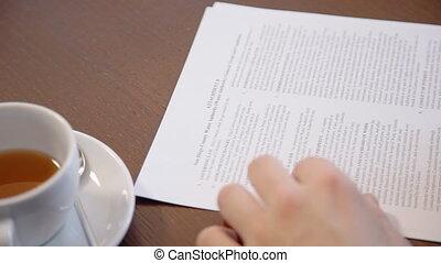 business, fonctionnement, thé, jeune, contrat, coupure, personne, cafe., pendant