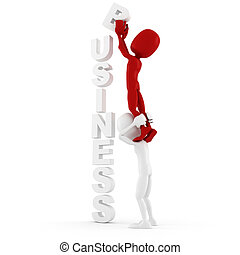 business, fond, concept, homme, 3d, blanc