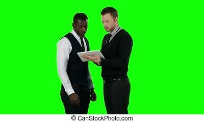 business, gens fonctionnement, écran, laptop., vert