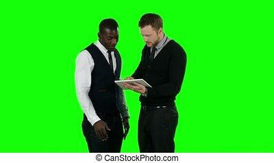 business, gens fonctionnement, tablet., écran, vert
