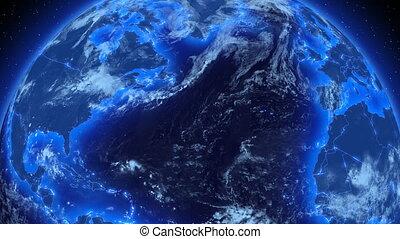 business, global, earth., rotation
