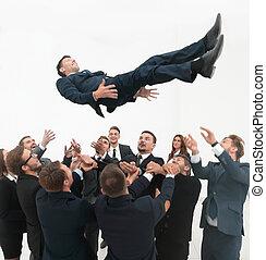 business, grand, leur, équipe, leader., balancer