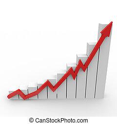 business, graphique, haut, aller, flèche, rouges