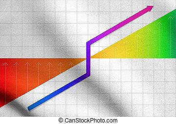 business, graphique, projection, arrière-plan grille, progrès
