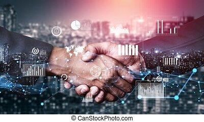business, graphique, visuel, imaginatif, poignée main, investissement, données, informatique