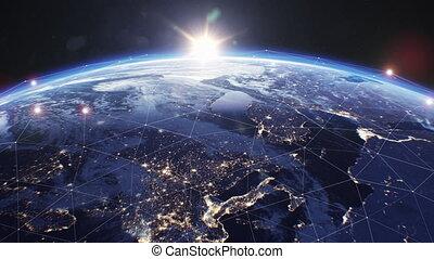 business, grille, ultra, espace, la terre, sunrise., sur, résumé, croissant, couverture, beau, technologie, vue, 4k, 3840x2160, réseau, planet., moderne, concept., futuriste, satellite., numérique, hd
