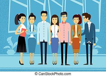 business, groupe, asiatique, gens bureau