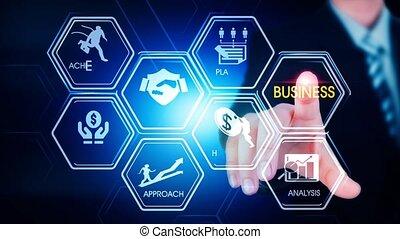 business, hexagonal, toucher, concept, écran