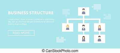 business, hierarchy., ouvriers, diagramme, illustration, infographics, vecteur, organisation, horizontal, bannière, structure