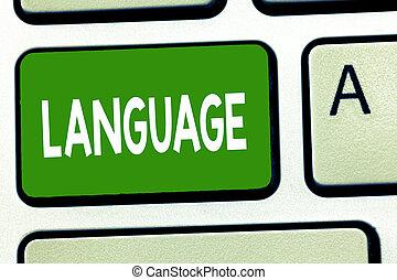 business, huanalysis, parlé, photo, projection, language., écriture, conceptuel, écrit, non plus, mots, communication, showcasing, main, méthode, consister