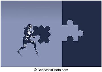 business, il, correctement, porter, prêt, puzzle, endroit, concept, illustration, puzzle, femme, morceau