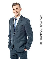 business, isolé, homme souriant, blanc, heureux