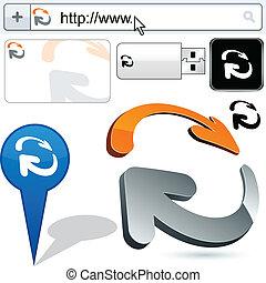 business, logo, flèches, 3d, design.
