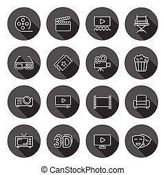 business, long, média, cinéma, icône, style., divertissement, bouton, plat, noir, illustration, vecteur, cercle, effect., fond, film, ombre, rond, concept., ligne, ensemble