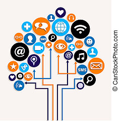 business, média, arbre, plan, social, réseaux