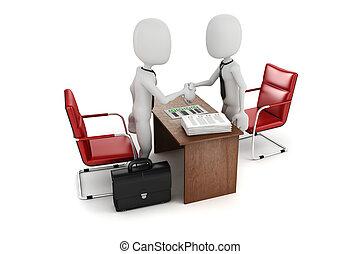 business, métier, réunion, entrevue, homme, 3d