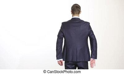 business, maillot, wrist., arrière-plan., language., geste, isolé, colère, managers., mains, derrière, back., saisir, sang-froid, sien, formation, homme, ventes, agents., blanc