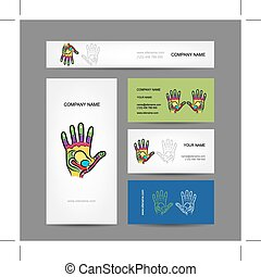 business, main, reflexology, conception, cartes, masage