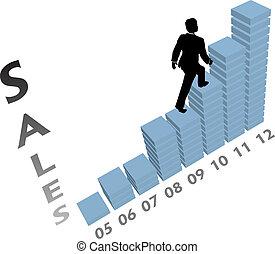 business, montées, commercialisation, haut, diagramme, personne, ventes