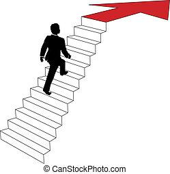 business, montées, flèche ascendante, escalier, homme