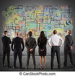 business, nouveau, dessin, projet, complexe, équipe