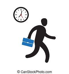 business, obtenir, personne, temps, hâte, dépêcher