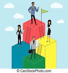 business, ou, croissance, femme affaires, dessin animé, échelle, carrière, homme affaires