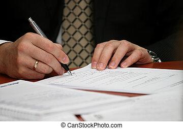 business, papier, homme, stylo, écrit