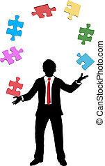 business, problèmes, morceaux, jonglerie, puzzle, homme