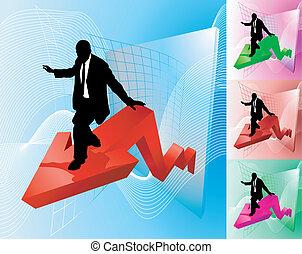 business, profit, illustration, surfeur, concept