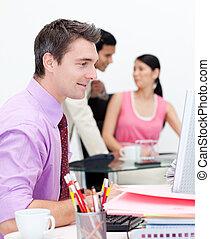 business, projection, groupe, ethnique, bureau, diversité