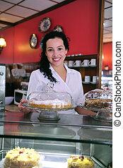 business/, propriétaire, petit gâteau, store/, café