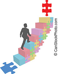 business, puzzle, haut, étapes, montée, homme
