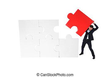 business, puzzle, pousser, morceau, final, homme