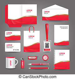 business, résumé, ondulé, gabarit, papeterie, rouges