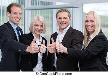 business, réussi, haut, donner, pouces, équipe