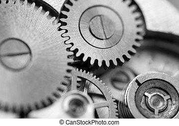 business, réussi, macro, métal, clockwork., arrière-plan noir, photo, conceptuel, blanc, roues dentées, ton, design.