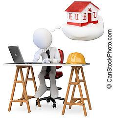 business, rêver, isolé, bureau maison, informatique, personne, image., 3d, table., sien, arrière-plan., nouveau, blanc