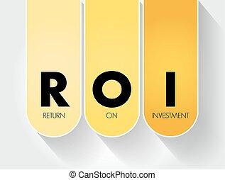 business, retour, acronyme, fond, roi, investissement, -, concept