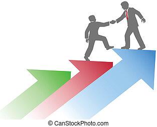 business, reussite, gens, haut, portion, équipe