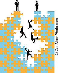 business, reussite, gens, puzzle, montée, constitué