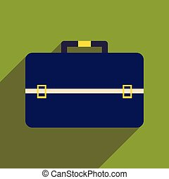 business, sac, icône, ombre, plat, long