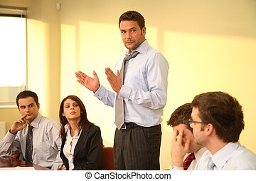 business, simple, -, patron, parole, réunion