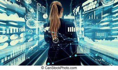 business, spécialiste, imaginatif, femme, visuel, conseiller, investissement