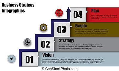 business, &, stratégie, quatre, étape, flèche