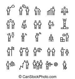 business, style., gens, stratégie, ensemble, icône, gestion, ligne