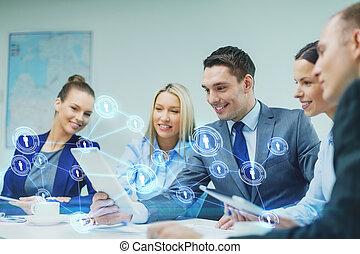 business, tablette, discussion, pc, équipe, avoir