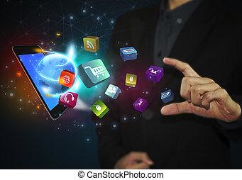 business, tablette, icônes, média, concept., social, main, toucher, communication